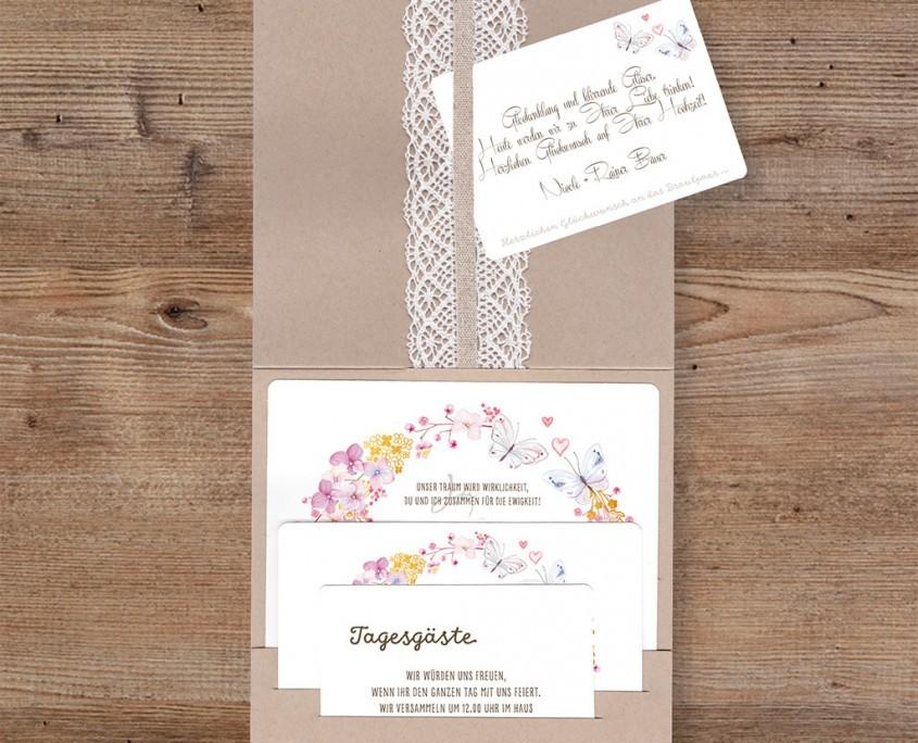 Einlegekarten mit floralen Elementen, Hochzeitskarten floral