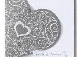 """klassische Hochzeitskarte """"Silbernes Herz"""", Titelseite, Hochzeitskarten Herz"""