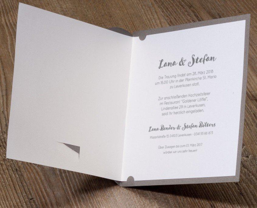 klassisch-elegante Hochzeitskarte, hochwertiger Edelkarton, weißer Flockdruck, hochzeitskarten elegant