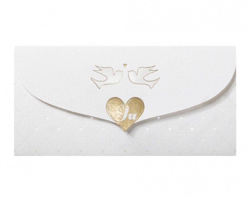 """Hochzeitskarte """"Ja"""" mit goldenem Herz und zwei Tauben, hochzeitskarten kuvert"""
