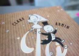 Klappkarte, rustikaler Hintergrund, Hochzeitskarten Holzoptik