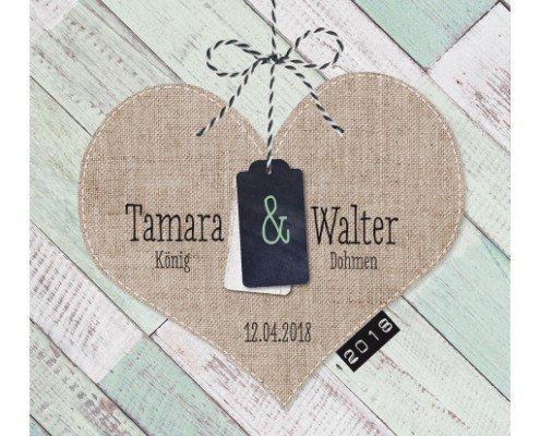 Wunderschöne und schlichte Vintage-Hochzeitskarte, Hochzeitskarten Herz