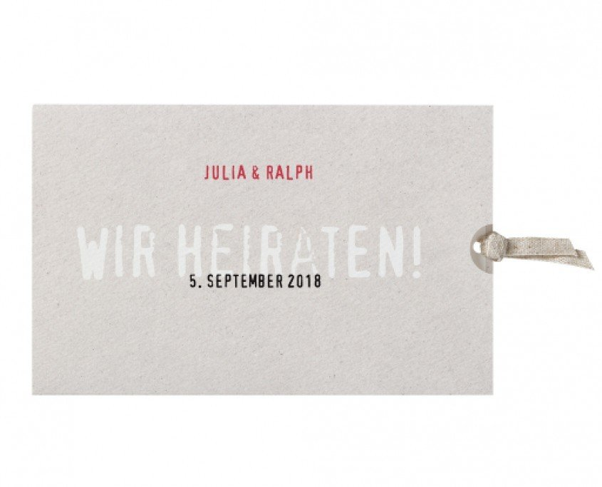 Einladung mit Schuber in schlichtem, klaren Industriedesign, Hochzeitspapeterie Düsseldorf