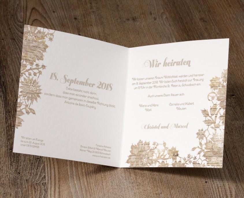 Hochzeitskarte, Innenseiten, florale Elemente, Hochzeitskarten floral