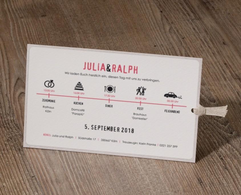Einsteckkarte mit Infos, Lichtgrau und Magenta, Hochzeitspapeterie schlicht