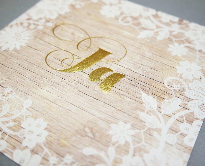 stilvolle Hochzeitskarte mit feinen Blumenornamenten, Hochzeitskarten Ja