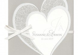 Hochzeitskarte, zwei Herzen vereint, hochwertiger Flockdruck, Hochzeitskarten Herz