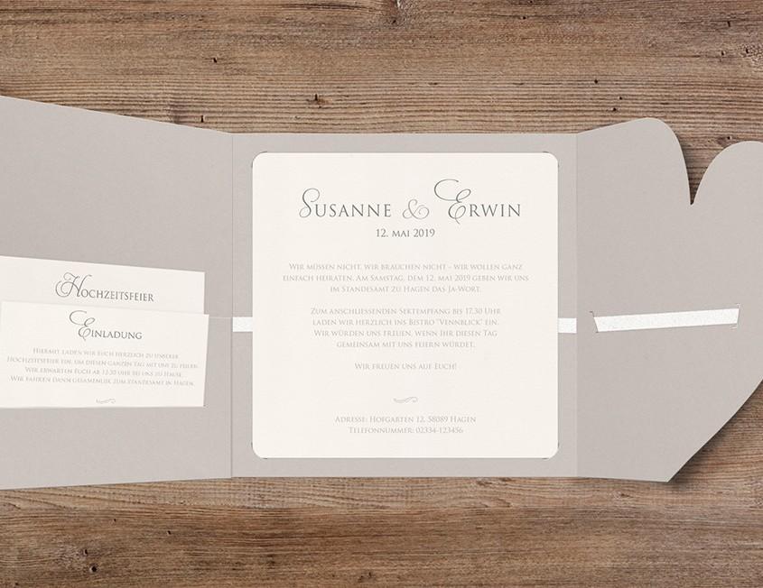 Einladung, Hauptkarte und zusätzliche Einsteckkärtchen, Hochzeitspapeterie Düsseldorf