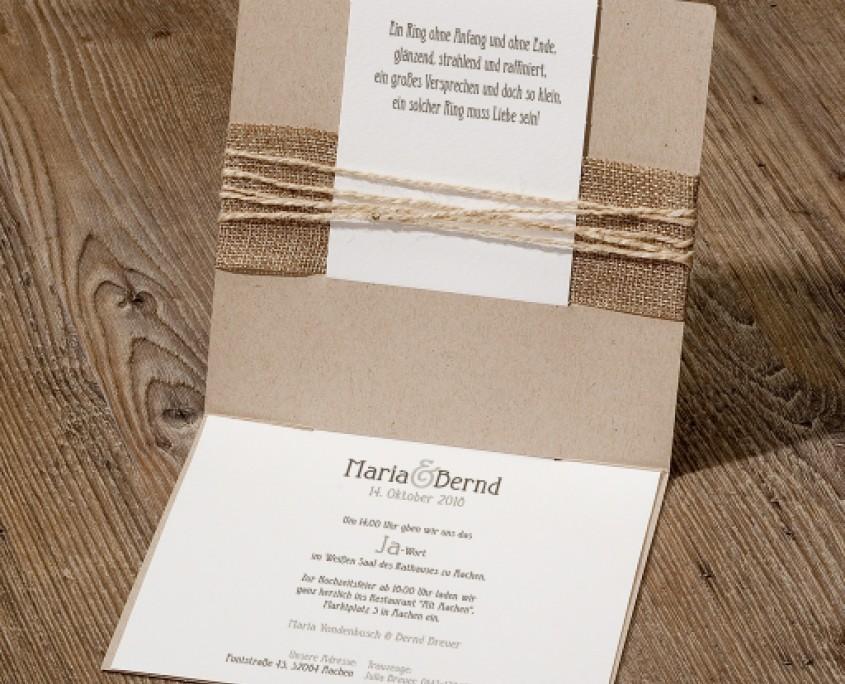 Einladung, Innenseite mit Einaldungstext und Trauspruch, Hochzeitskarten Innentext