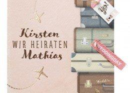 Hochzeitskarte, in Gold veredelte Flugzeuge, Kunstvolle Koffer, Hochzeitskarten Reise