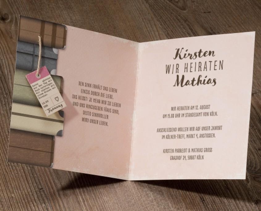 Hochzeitskarte, Innenseite, Koffer, hochzeitskarten einladung