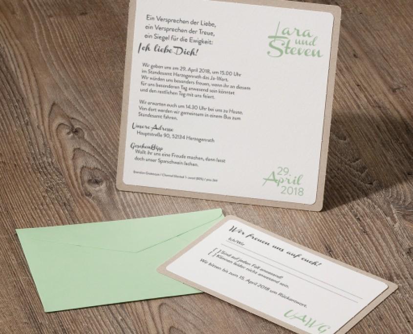 Hauptkarte mit persönlichem Wunschtext, Antwortkarte mit Briefumschlag, Hochzeitskarten Einladung Vintage