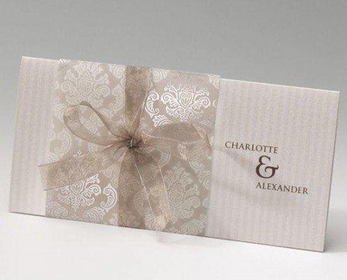 elegante Klappkarte im DIN Lang-Format, transparente Banderole, Hochzeitskarten elegant