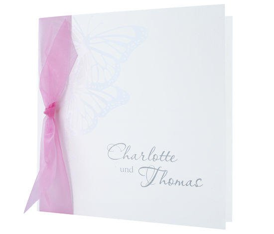 quadratische Klappkarte aus hochwertigem Naturkarton, Schmetterlinge, Hochzeitskarten Deutschland