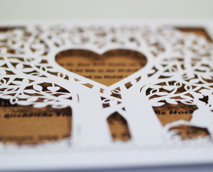 Hochzeitskarte, Vorderseite, Lasercut, Details, hochzeitskarten herz