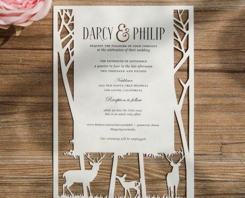 Elegante Hochzeitskarte mit Waldkulisse, hochzeitskarten lasercut