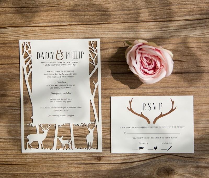 kunstvolle Einladung, Wald, Hirsche, Hochzeitspapeterie Hirsch