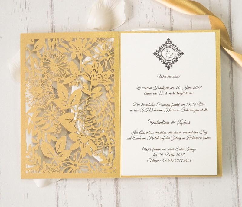 wunderschönste Hochzeitskarte, Innenseite, Edeldesign, Hochzeitskarten Lasercut