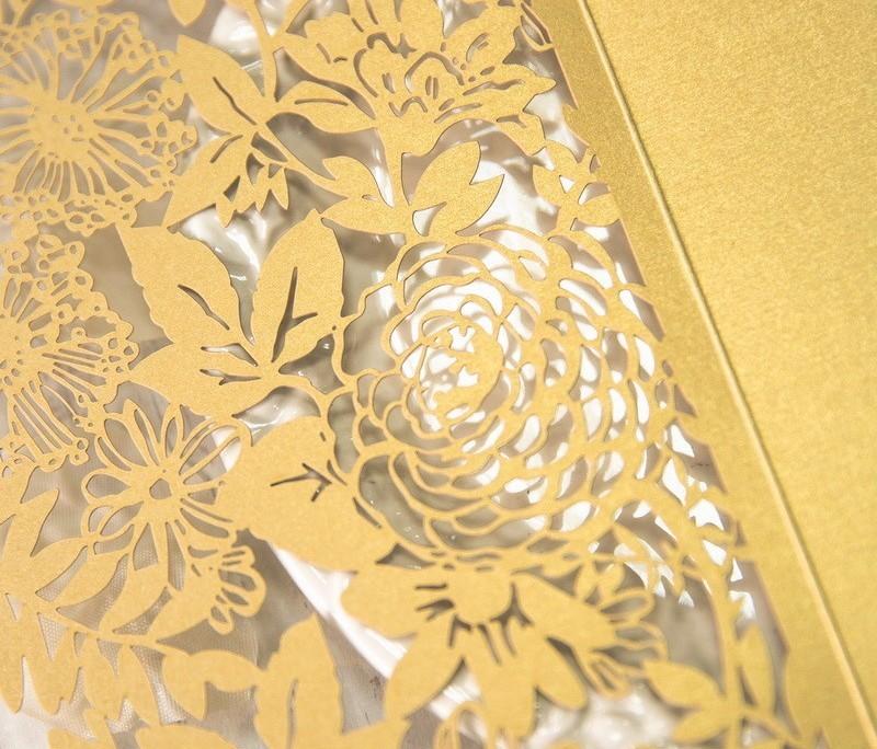goldene Hochzeitskarte, Lasercut, Details, hochzeitskarten individuell