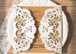 ästhetische Hochzeitskarte mit Initialen, Hochzeitskarten Paradies