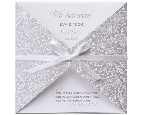 Romantische Hochzeitseinladung mit filigranem Blumendesign im edlen Flockdruck, hochzeitskarten deko