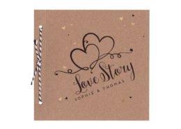 Hochzeitskarte Liebesgeschichte, Karton, Gold, Hochzeitspapeterie Ideen