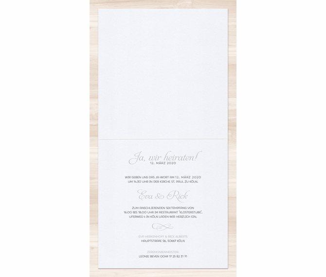 quadratische Hochzeitskarte, offenes Format, Hochzeitspapeterie edel