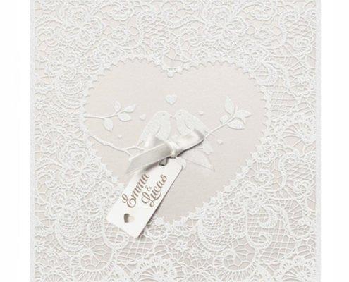 """quadratische Hochzeitskarte """"Romantische Voegelchen"""", Flockdruck, hochzeitskarten hochwertig"""