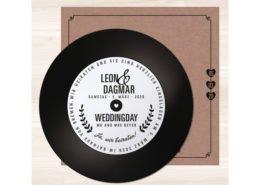 Schalltplatte Hochzeitseinladung, Kraftkarton, Hochzeitspapeterie Düsseldorf
