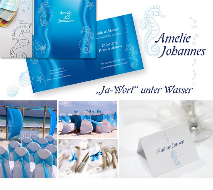 Ja-Wort unter Wasser Seepferd Hochzeit Logo rot Wappen Menükarten Hochzeitskarten Unikate Logo Hochzeitspapeterie