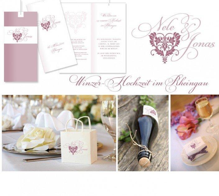 Unikate Hochzeitspapeterie Winzer Hochzeit Herz Hochzeit