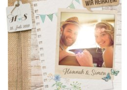 """""""Flitterwochen Vorfreude"""" – Moderne Hochzeitseinladungen im Hippiestil in zarten Farben mit Kordel aus Aquarellkarton, Hochzeitspapeterie modern"""