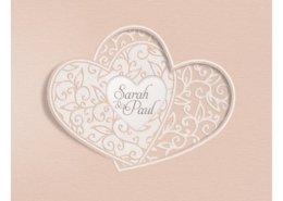 Luxuriöse Hochzeitseinladung mit fein ausgeschnittenen Herzen, Vorderseite, Hochzeitskarten Herz