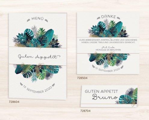 Hochzeitseinladung mit Farn, Tisch,- Menü- und Save-the-date-Karten, farbgold hochzeitspapeterie