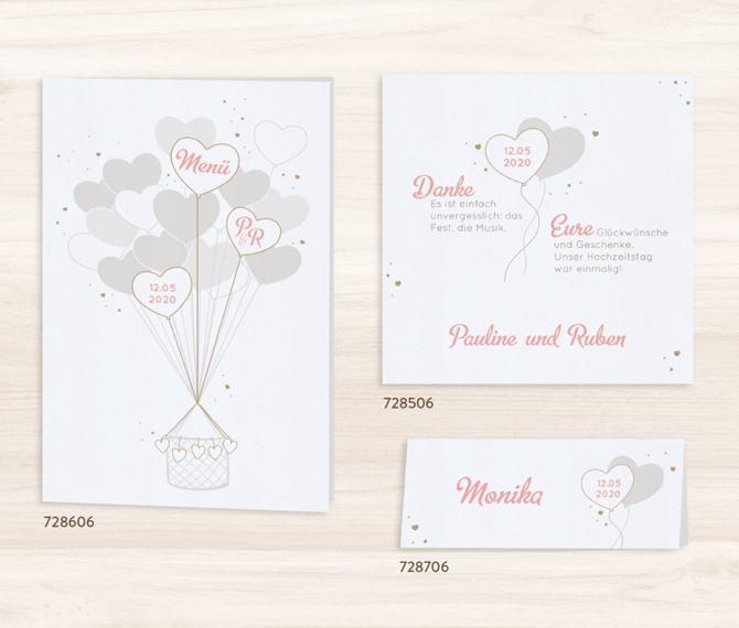 """Hochzeitskarte """"Heißluftballon"""" – Tisch-, Menü- und Save-the-date-Karten, Hochzeitskarten Inhalt"""