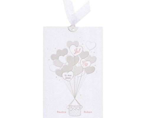 """Hochzeitskarte """"Heißluftballon"""", hochwertiger Perlmuttkarton mit elegantem Heißfolienprägedruck, Hochzeitskarten elegant"""