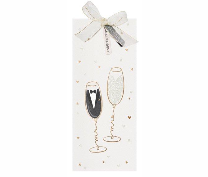 Ausgefallene Einschubkarte mit Heißfolienprägedruck Mr & Mrs Champagner, hochzeitskarten online