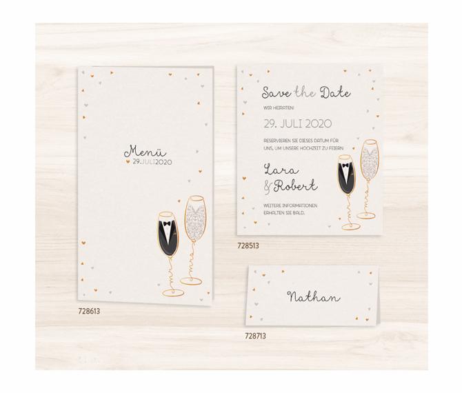 Mr & Mrs Champagner Tisch-, Menü- und Platzkarten, kreative hochzeitskarten