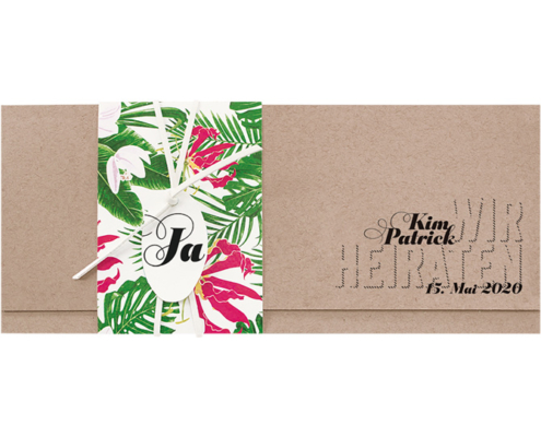 fröhliche Hochzeitseinladung mit tropischen Blumen, Lederband, rundem Kärtchen und Wickel, Hochzeitskarten floral