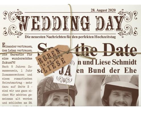 Besondere Hochzeitskarte im Zeitungsdesign mit individuellen Fotos, Hochzeitskarten mit Bild