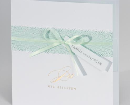 Hochzeitseinladung mit Spitzenband, Heißfoliendruck, Hochzeitskarten mit Spitze