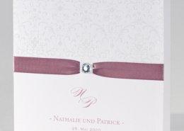 elegante Hochzeitskarte, Ornamente, rosé, Hochzeitskarten elegant