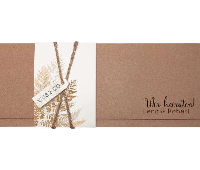 Kraftkarton Farn mit Kordel. Hochzeitskarten Düsseldorf
