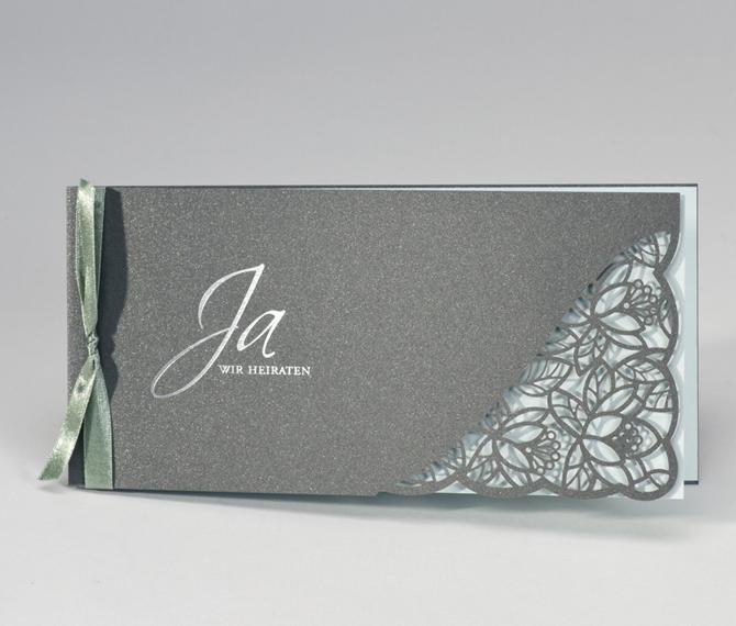 """Hochzeitskarte """"Florale Romantik"""", Lasercut, silber, mint, Hochzeitskarten floral"""