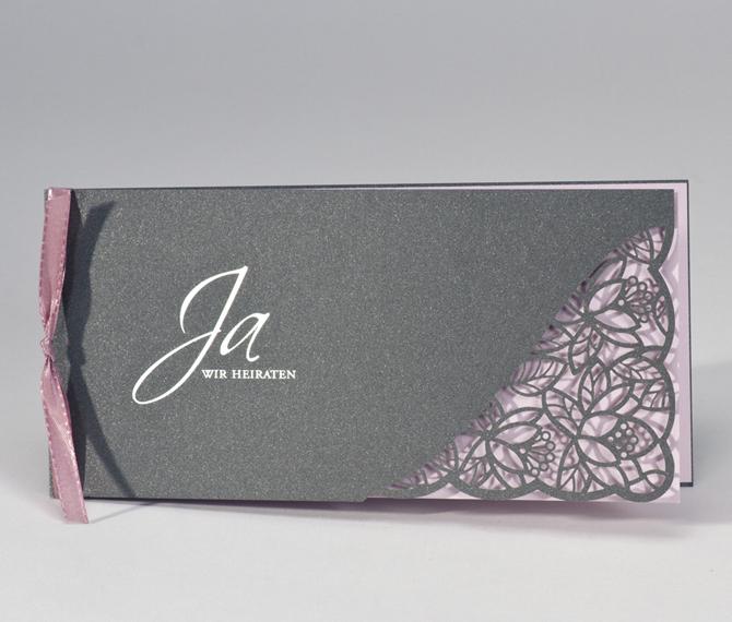 Hochzeitskarte, Lasercut, florales Design, silber, rosa, Hochzeitskarten Design