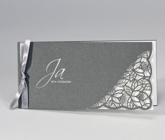 Hochzeitskarte, Lasercut, silber, weiß, hochzeitspapeterie lasercut