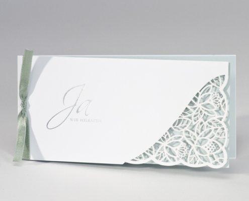 Hochzeitskarte, Lasercut, weiss, mint, Hochzeitspapeterie zartmint