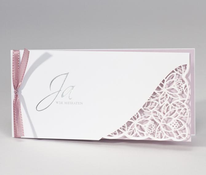 Hochzeitskarte, Lasercut, weiss, rosa, hochzeitskarten rosa
