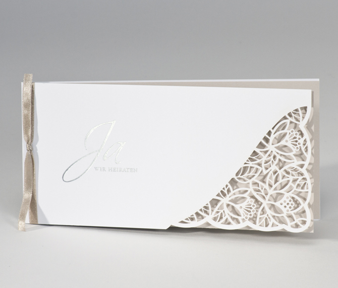 Hochzeitskarte Lasercut Weiss Taupe Frese Hochzeitskarten Dusseldorf