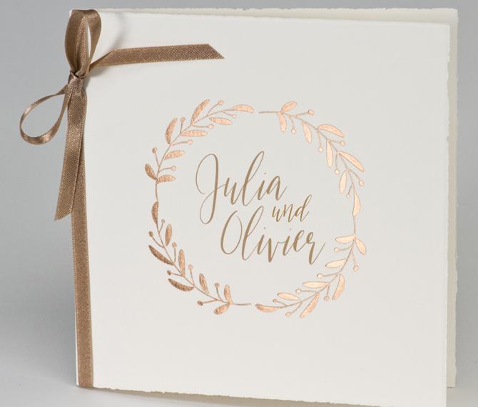 Klassische Hochzeitskarte Buetten Heissfolie Rosegold Frese